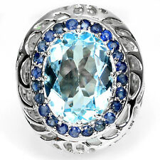 GENUINE16x12mm SKY BLUE TOPAZ &BLUE SAPPHIRE ACCENTS 925 SILVER SOLITAIRE RING 7