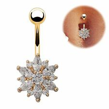 Gold Plated Clear CZ Gem Flower Sparkle Belly Navel Ring Body Jewelry