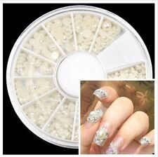 DIY HALF FACE Pearl Manicure Woman Nail Art Decoration  White Round Wheel Case