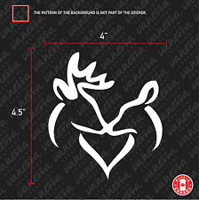 2X BROWNING KISS  HUNT CHASSE DEER BUCK sticker vinyl car decal white