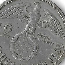 Rare Old WWII Antique Germany 1939-B SILVER 3rd Reich SS Nazi Eagle Bullion Coin
