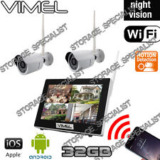IP Security Cameras System Wireless 32GB 2 Cam Farm Home Night Vision Phone View