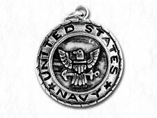 UNITED STATES NAVY Medallion Military Antiqued Pewter Traditional Charm 1pc