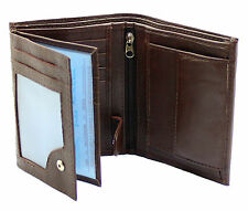 Mens Quality Soft Leather Wallet With ID Window, Zip And Coin Pocket 503 Brown