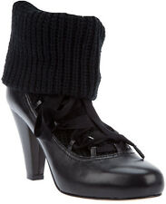 NIB SEE BY CHLOE  size 37 7 LACE UP SOCK BOOTS BLACK WOOL / LEATHER