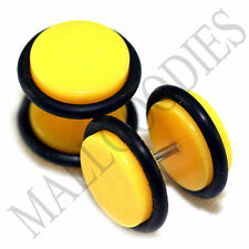 "X120 Fake Cheater Illusion Faux Ear Plugs 16G Bar- 7/16"" = 11mm Yellow 2pcs SALE"
