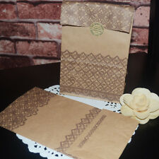 White & Brown Lace Print Kraft Paper Favors Gift Vintage Party Treat Pouch Bags