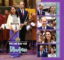 Ghana 2016 MNH Prince William & Kate Visit Bhutan 4v M/S Royalty Stamps