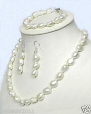 Real 10-12mm Natural 925 White Akoya Pearl Necklace Bracelet + Earrings 18 ""