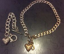JUICY COUTURE GOLD TONE PUFF HEART PENDANT TOGGLE NECKLACE BRACELET SET  Tarnish