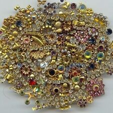 1/4 POUND VINTAGE ASSORTED RHINESTONE BRASS FINDINGS JEWELRY REPAIR LOT 4251