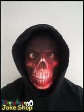 Grim Reaper Red Skeleton Full Head Mask Realistic Printed Lycra for Halloween