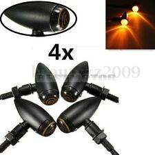 4x Black Motorcycle Bullet Turn Signal Indicator Light Lamp For Harley Chopper