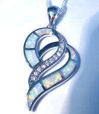 "***UK SELLER***GORGEOUS WHITE FIRE OPAL DOUBLE HEART PENDANT + 20"" SILVER CHAIN"