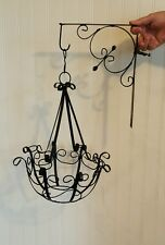 Vtg Hanging Plant Basket Black Wrought Iron Planter with Matching Bracket Hanger