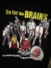 Go For The Brains Zombies 100% Cotton Black VMC Game Labs Graphic Tee Shirt 2XL