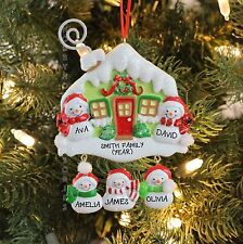 SNOW FAMILY WITH HOUSE FAMILY OF 5 Personalized Christmas Tree Ornament K Adler