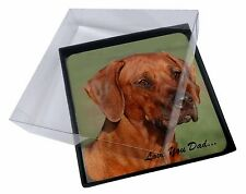 4x Rhodesian Ridgeback 'Love You Dad' Picture Table Coasters Set in Gif, DAD-92C