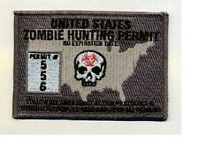 Morale Patch - ZOMBIE HUNTING PERMIT - USA - Dark OPS - SWAT - Custom