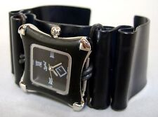 Black Silver Square Face Wristwatch Mens Womens Aluminum Cuff Handmade New Gift