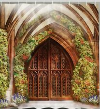 Church Gates Fabric SHOWER CURTAIN Vines Arch Castle Doors Entrance Bath Decor