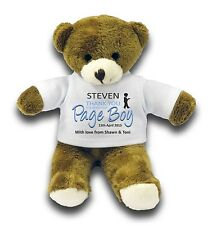 "Personalised Page Boy Wedding Party Favour Gift 7"" Teddy Bear"