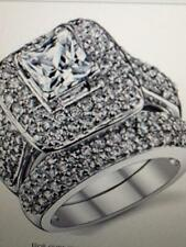 .925 SS PRINCESS CUT CZ WEDDING SET SIZE 7