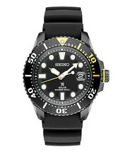 New Seiko SNE441 Solar Diver 200M Rubber Black Ion Stainless Steel Men's Watch