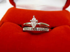 Used Marquise Diamond Solitaire Engagement Ring Wedding Band Set 14k White Gold