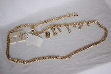 NWT Gold KATE SPADE Women's Chain CHARM BELT w/ Spade Adjustable Size S / M