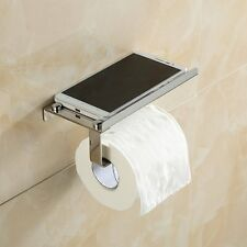 Wall-mounted Bathroom Towel Rack Toilet Paper Roll Holder with Shelf, Silver