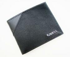 NEW GUESS BLACK LEATHER PASSCASE BILLFOLD ID CREDIT CARD CASE MEN'S WALLET