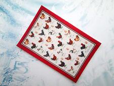 Maison de poupées thé serviette chiffon imprimé sur coton miniature 6 x 4 cm 1/12th #28