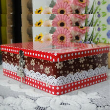 Cute Large Tinplate Iron Tin Rectangle Storage Box Container Case with Lock