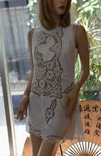 LIM'S 100% COTTON HAND BATTENBERG LACE EMBROIDERY ZIP BACK DRESS WHITE M