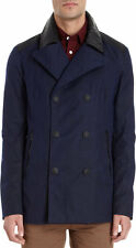 NWT rag and bone RUNWAY WAX PEACOAT MENS COAT WITH LAMBS LEATHER  $850