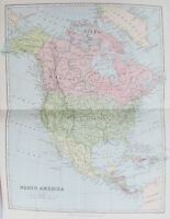 OLD ANTIQUE MAP NORTH AMERICA UNITED STATES CANADA c1880s by BARTHOLOMEW/BLACKIE