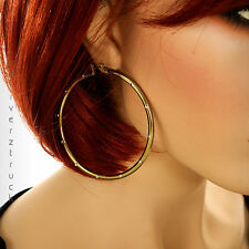 JENNIFER LOPEZ Large GOLD Tone HOOP EARRINGS with CLEAR Faux CRYSTAL ACCENTS
