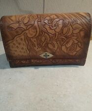 Genuine Leather Hand Tooled Purse Made In Mexico