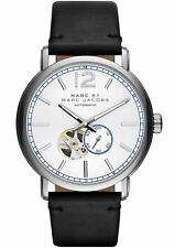 BRAND NEW MARC JACOBS MBM9716 FERGUS AUTOMATIC BLACK LEATHER SILVER MEN'S WATCH