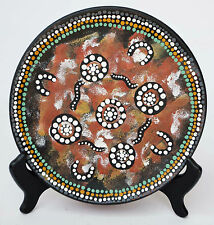 HAND PAINTED AUSTRALIAN PRIMITIVE ABORIGINAL ART ON HAND MADE PLATE
