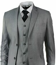 Men's Slim Fit Suit Grey 3 Piece Work Office or Wedding Party Suit