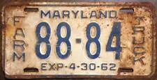 Old Photo. 1961 Maryland Farm Truck Vehicle License Plate '88-84'