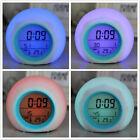 LED Wecker Farbwechsel Uhr Alarm Digitaler LCD Kalender Thermometer Rund 6493
