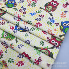 50x150 Cotton Linen Fabric Print Owls on Olive Branch  DIY Home Deco