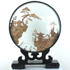 """Chinese Cork Sculpture Picture w/ Cranes Wood Framed Glass Encasement Large 15""""H"""