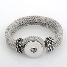 Pulsera de cuero para Chunk click button pulsador fragmentos (22 cm) Taupe gris #4132