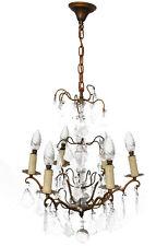 lustre à pampille de style Louis XV bronze doré 6 feux