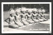 Bali rppc 7 Djanger Dancers Costume Indonesia stamp 1938