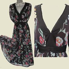 Marks Spencer Black Floral Print Silky Chiffon V Neck Embellished Midi Dress 12